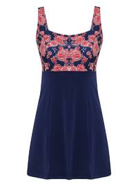 Red - Navy Blue - Floral - Unlined - Half Covered Switsuits