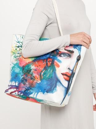 Satchel - Blue - White - Beach Bags