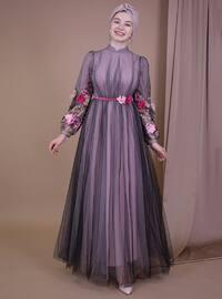 Pink - Floral - Muslim Evening Dress