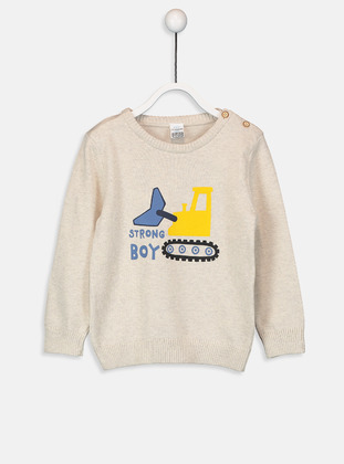 Printed - Crew neck - Ecru - Boys` Pullover