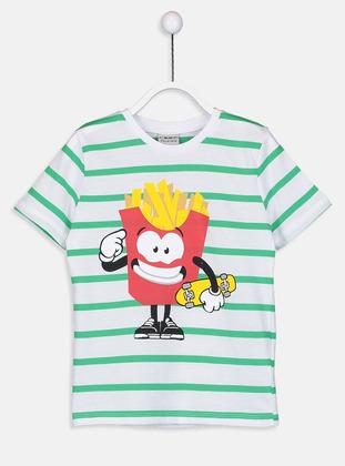 Stripe - Crew neck - Green - Boys` T-Shirt - LC WAIKIKI