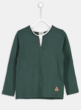 V neck Collar - Green - Boys` T-Shirt