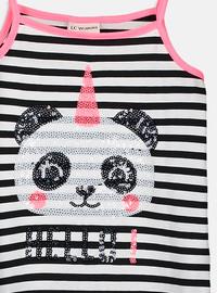Stripe - Black - Girls` T-Shirt