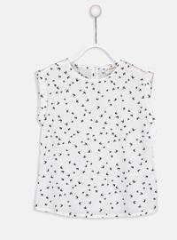 Printed - White - Girls` Blouse