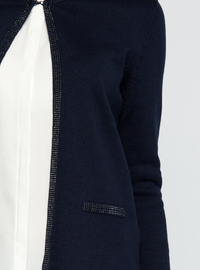 Crew neck - Navy Blue - Cardigan