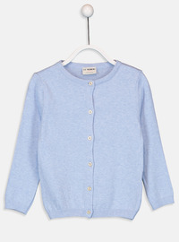Crew neck - Blue - Girls` Cardigan
