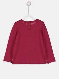 Printed - Crew neck - Maroon - Girls` Pullovers