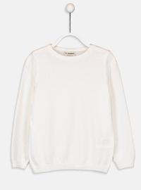 Crew neck - Ecru - Girls` Pullovers