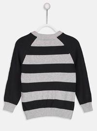 Stripe - Crew neck - Gray - Boys` Pullover