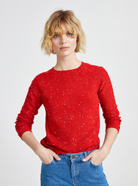 Printed - Crew neck - Red - Jumper