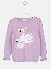 Printed - Crew neck - Lilac - Girls` Pullovers