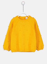 Printed - Crew neck - Yellow - Girls` Pullovers