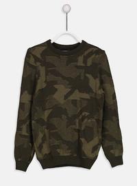 Printed - Crew neck - Green - Boys` Pullover