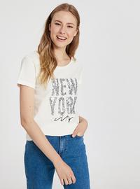 Crew neck - Ecru - T-Shirt