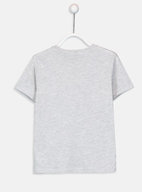 V neck Collar - Gray - Boys` T-Shirt