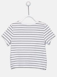 Stripe - Crew neck - Gray - Girls` T-Shirt