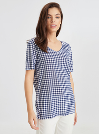 V neck Collar - Blue - T-Shirt