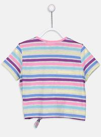 Stripe - Crew neck - Yellow - Girls` T-Shirt