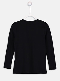 Crew neck - Black - Girls` T-Shirt
