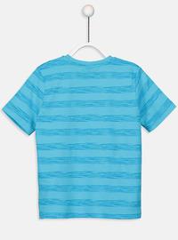 Stripe - Crew neck - Turquoise - Boys` T-Shirt