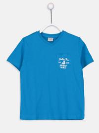 V neck Collar - Turquoise - Boys` T-Shirt