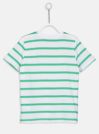 Stripe - Crew neck - Green - Boys` T-Shirt