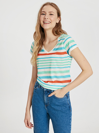 Stripe - V neck Collar - Green - T-Shirt