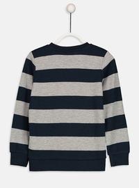 Stripe - Crew neck - Navy Blue - Boys` T-Shirt
