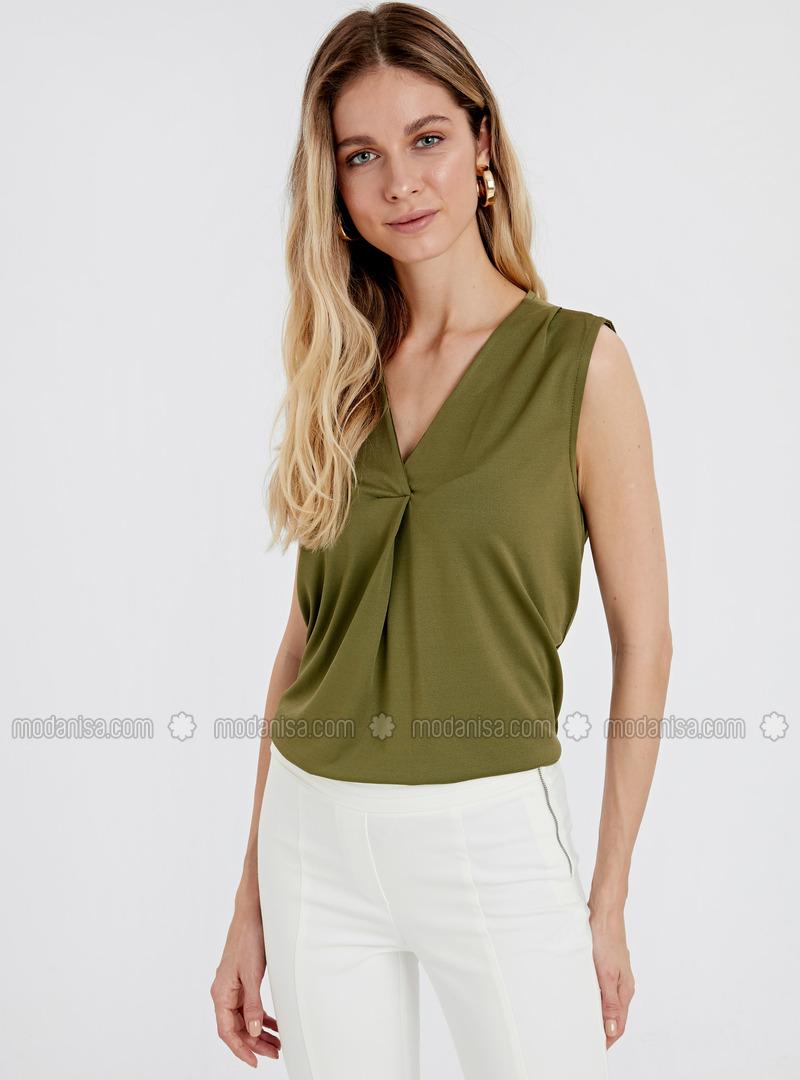 V neck Collar - Khaki - T-Shirt