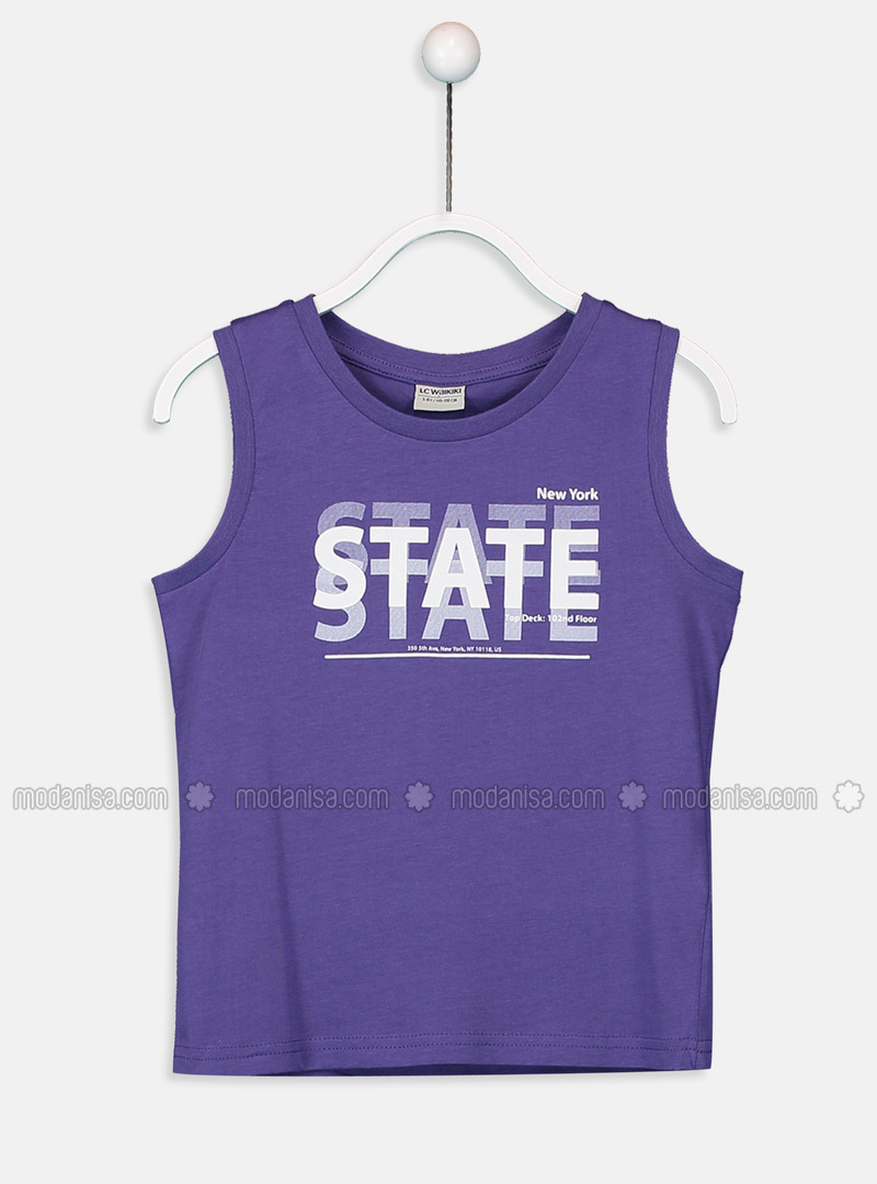 Crew neck - Purple - Boys` T-Shirt