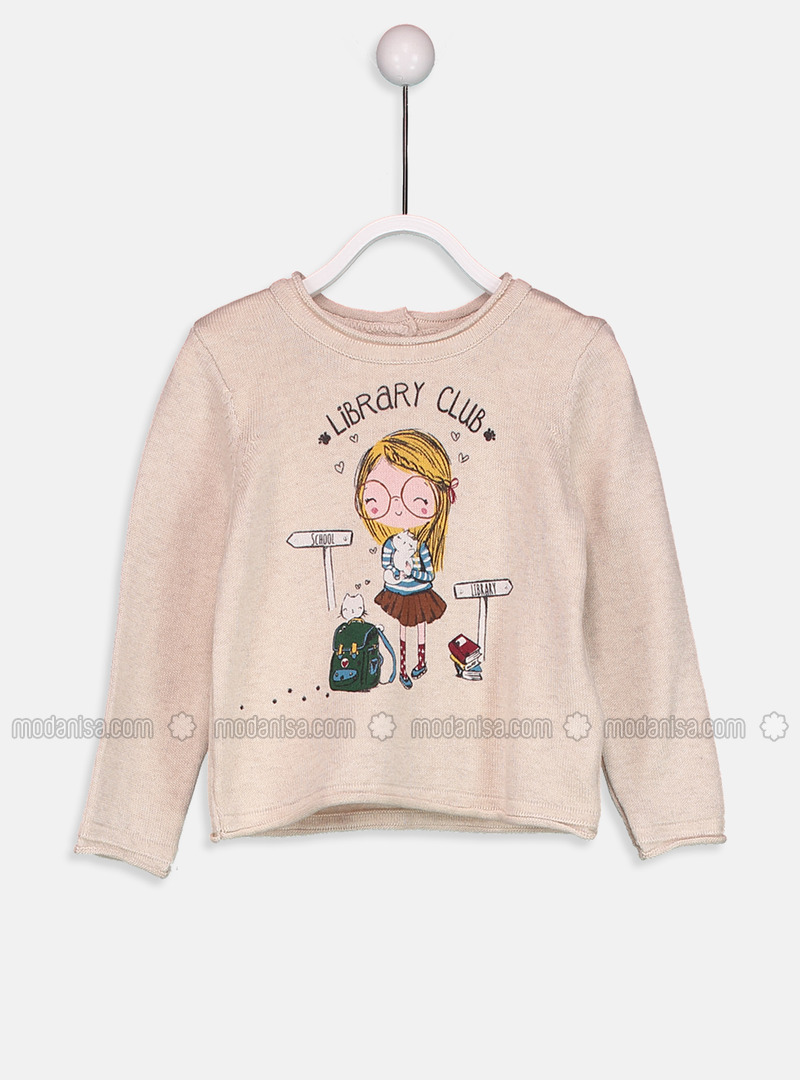 Printed - Crew neck - Beige - Girls` Pullovers