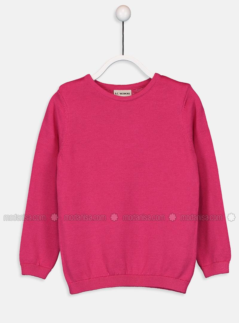 Crew neck - Fuchsia - Girls` Pullovers