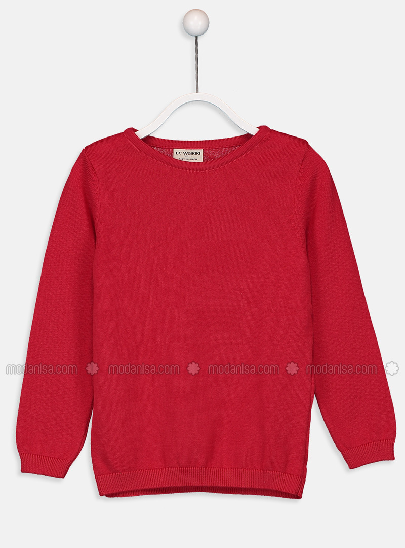 Crew neck - Red - Girls` Pullovers