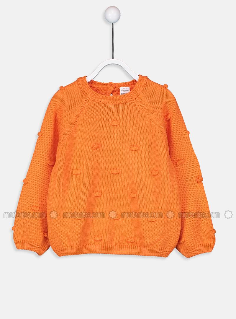 Printed - Crew neck - Orange - Girls` Pullovers