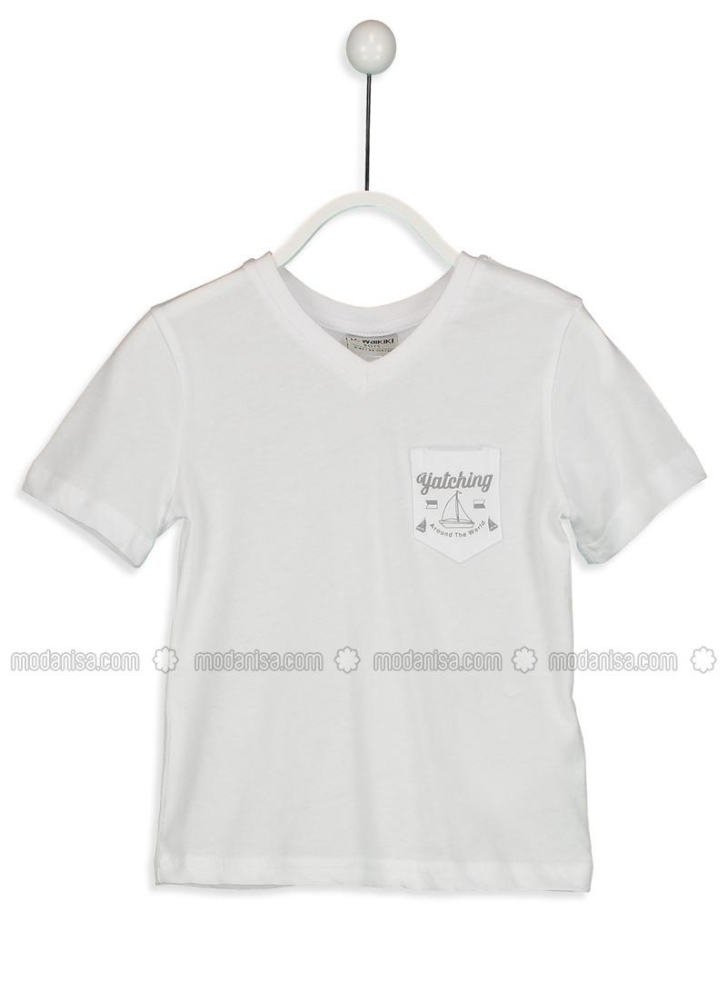 V neck Collar - White - Boys` T-Shirt