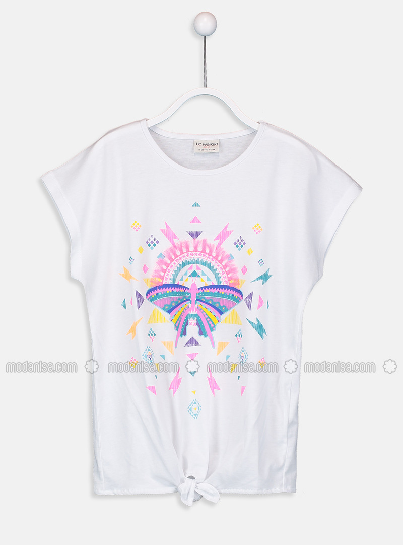 Crew neck - White - Girls` T-Shirt