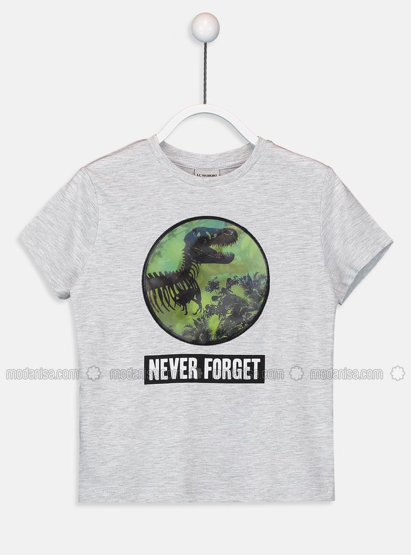 Crew neck - Gray - Boys` T-Shirt