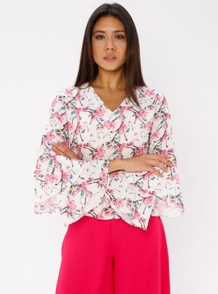 Fuchsia - Floral - V neck Collar - Blouses