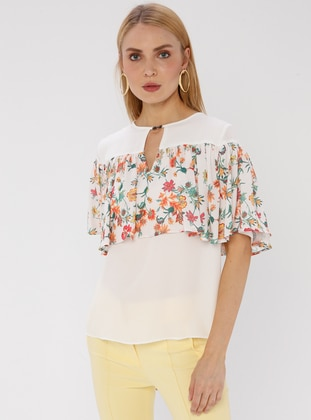 Orange - Floral - Crew neck - Blouses