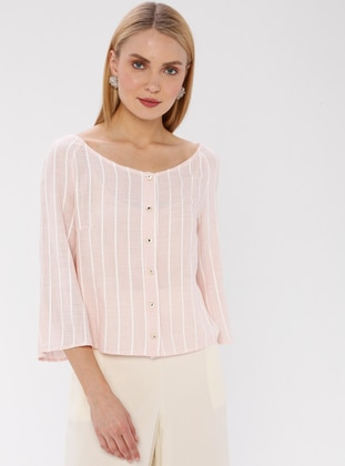 Powder - Stripe - Boat neck - Cotton - Viscose - Blouses