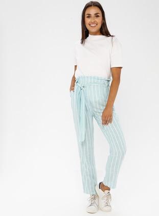 Mint - Stripe - Cotton - Viscose - Pants