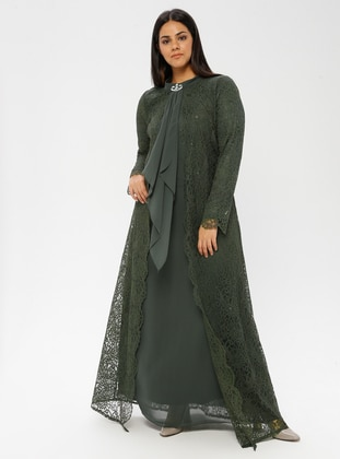 Khaki - Fully Lined - Polo neck - Muslim Plus Size Evening Dress