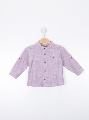 Stripe - Maroon - Button Collar - baby shirts