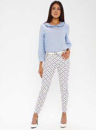 Navy Blue - Indigo - Multi - Cotton - Pants