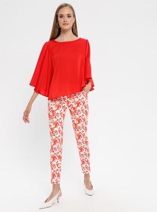 Coral - Multi - Cotton - Pants