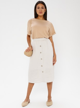 Beige -  - Fully Lined - Skirt