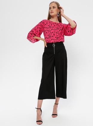 Black - Cotton - Nylon - Pants