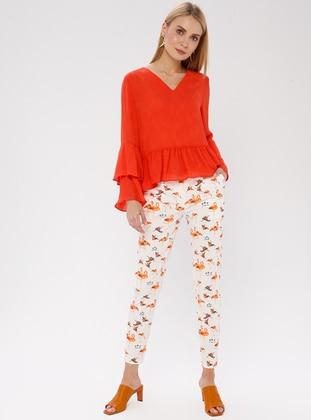 Ecru - Multi - Cotton - Pants