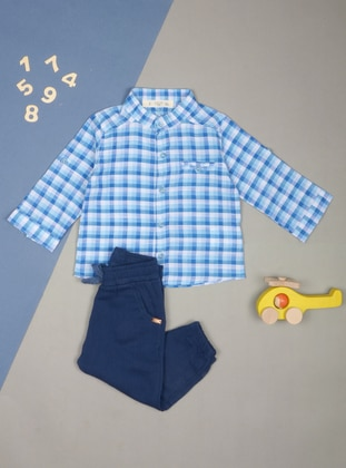 Checkered - Blue - Crew neck - baby shirts