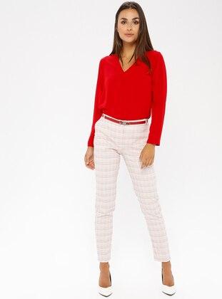 Red - Checkered - Viscose - Pants